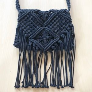Boho Crossbody Crochet Black Bag with Fringe